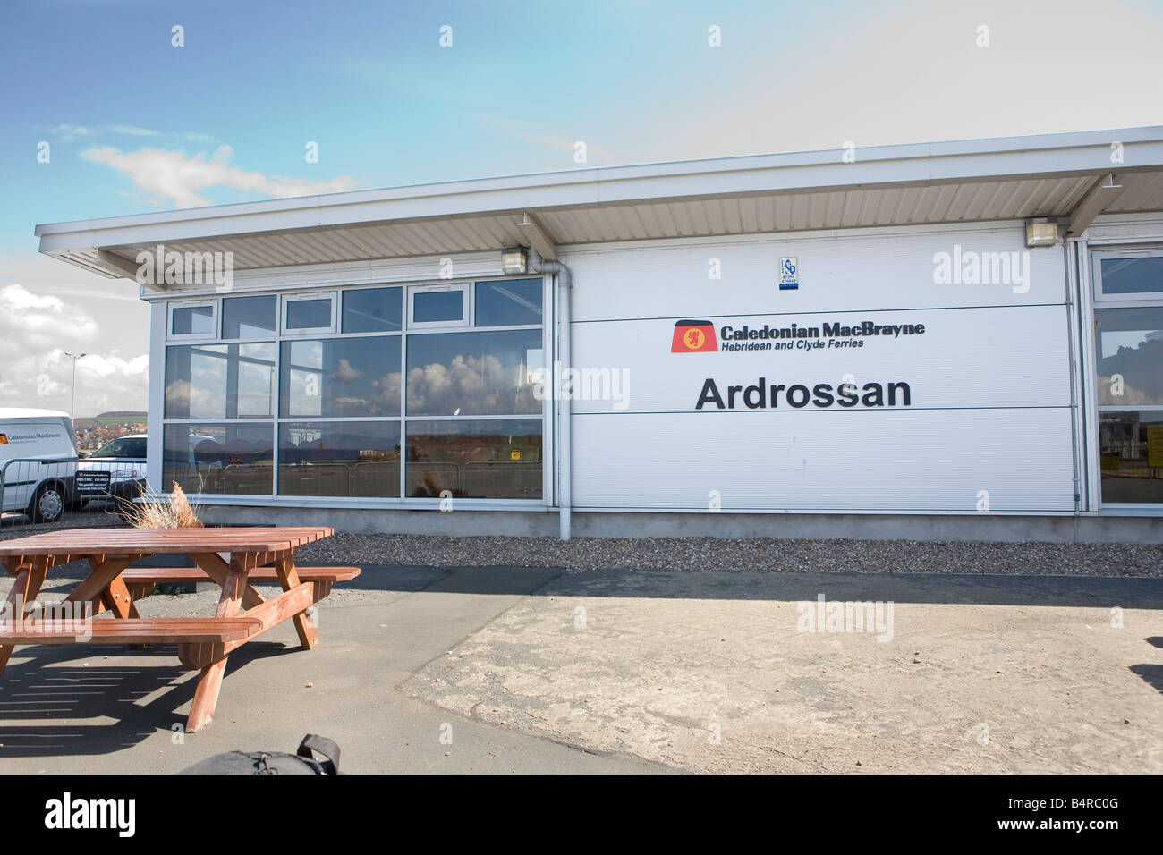 calmac ferry terminal in ardrossan on a rare sunny day - Stock Image