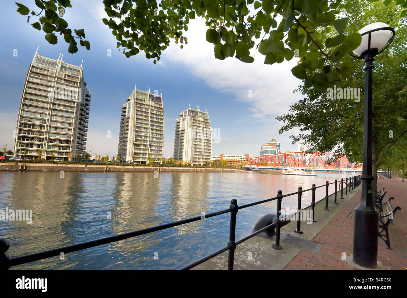 Salford Quays waterfront flats  in Manchester,Great Britain - Stock Image
