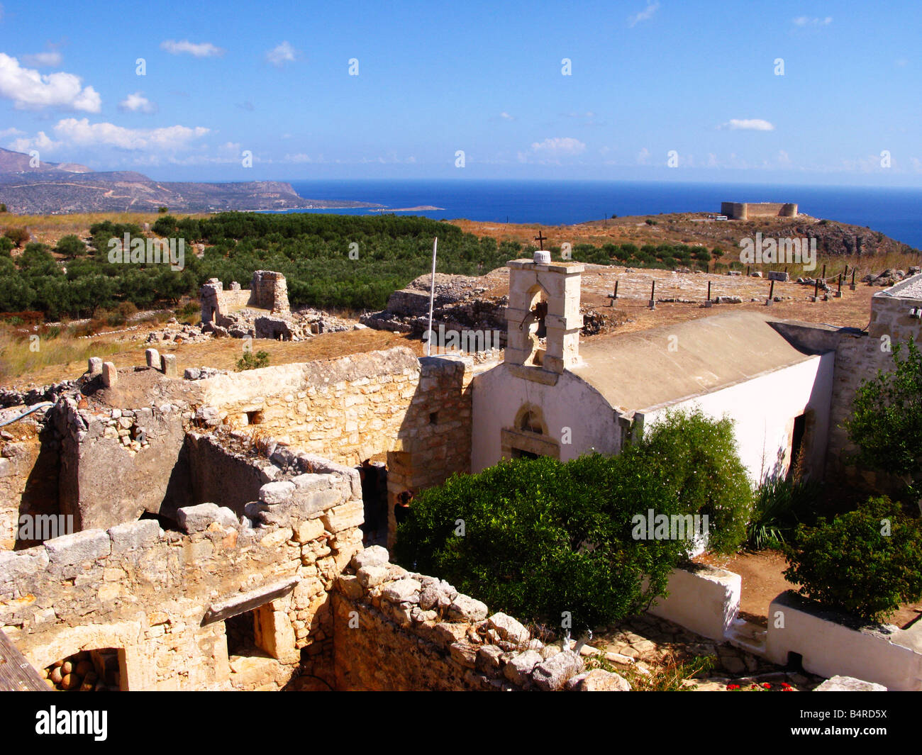 Greek Orthodox Chapel and Turkish Fort Ancient site of Aptera 5th Century BC West Crete Greece Stock Photo