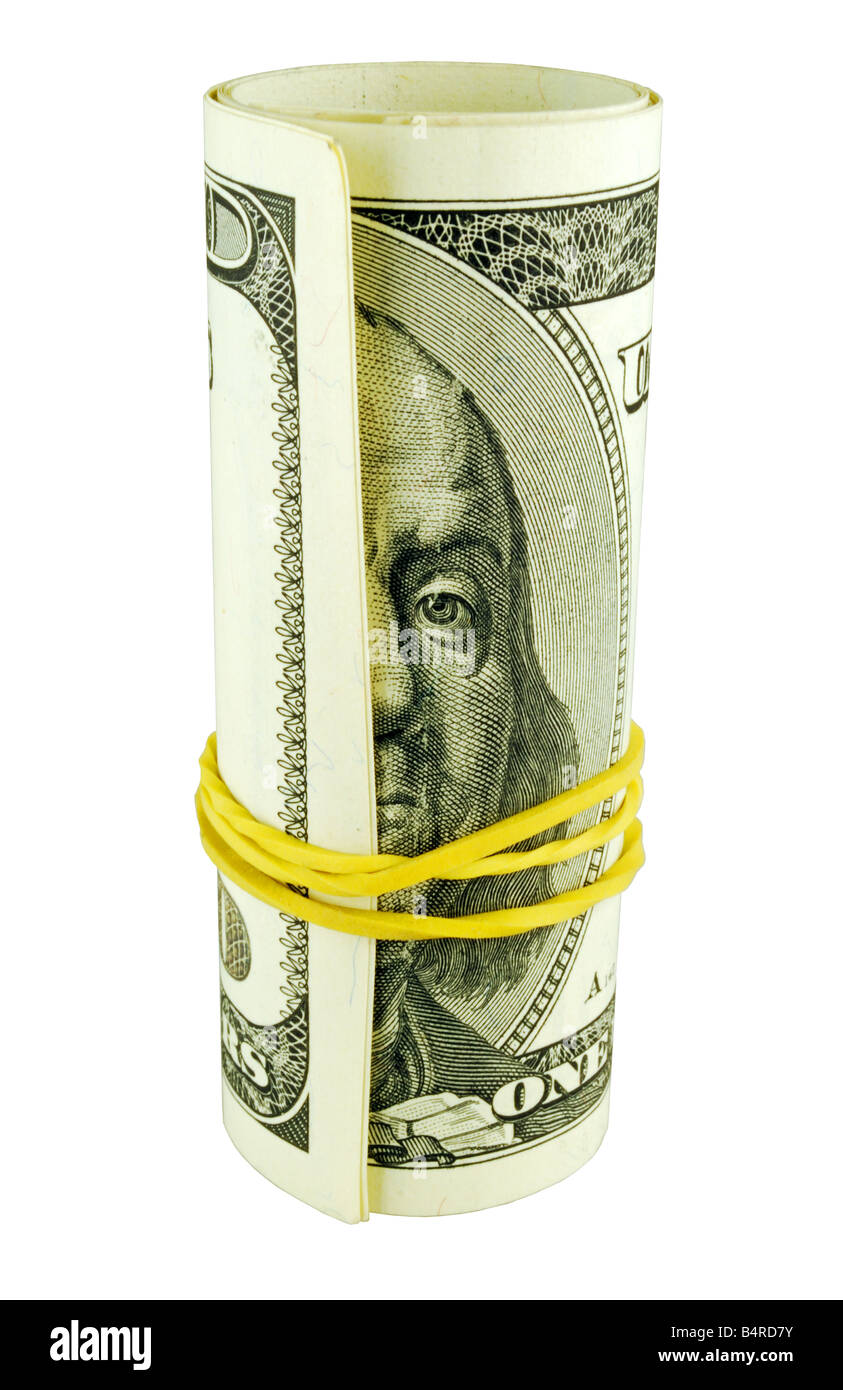 Banknotes of United States of America dollars one hundred dollar bill roll - Stock Image