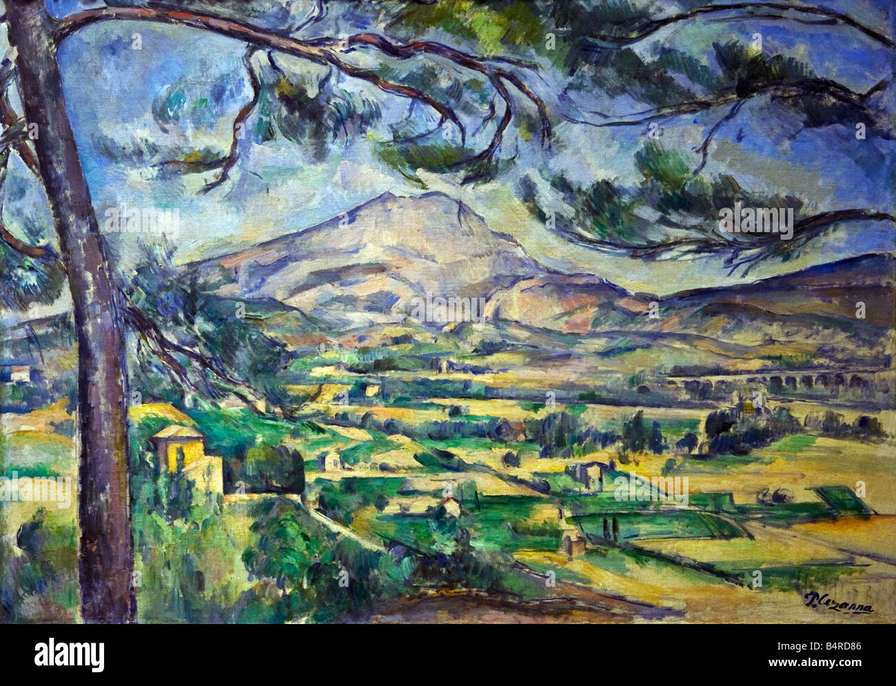 Montagne Sainte-Victoire with Large Pine painted by Paul Cezanne oil on canvas 1887 Courtauld Gallery Somerset House - Stock Image