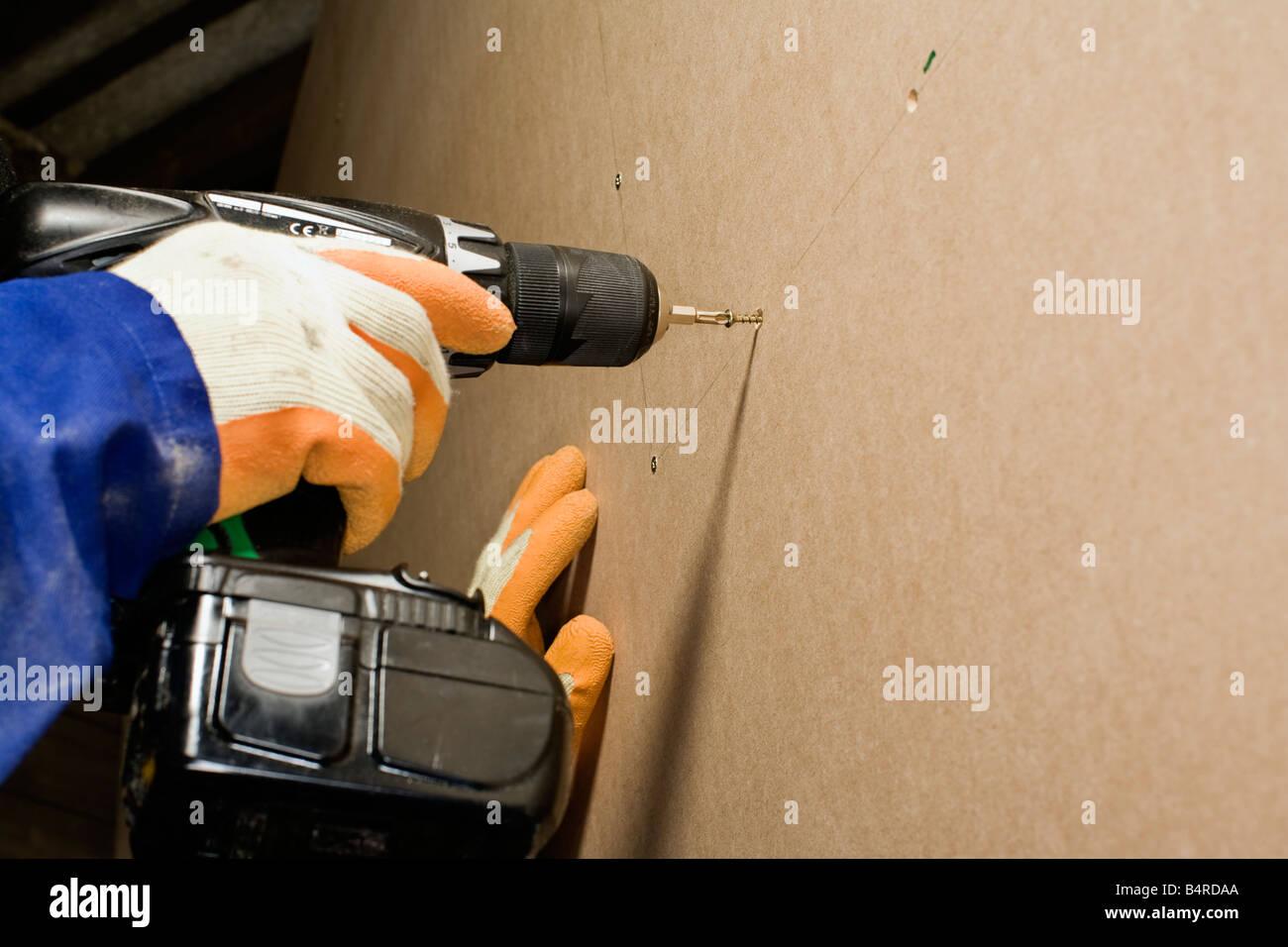 screwing woodwork diy carpentry joiner - Stock Image