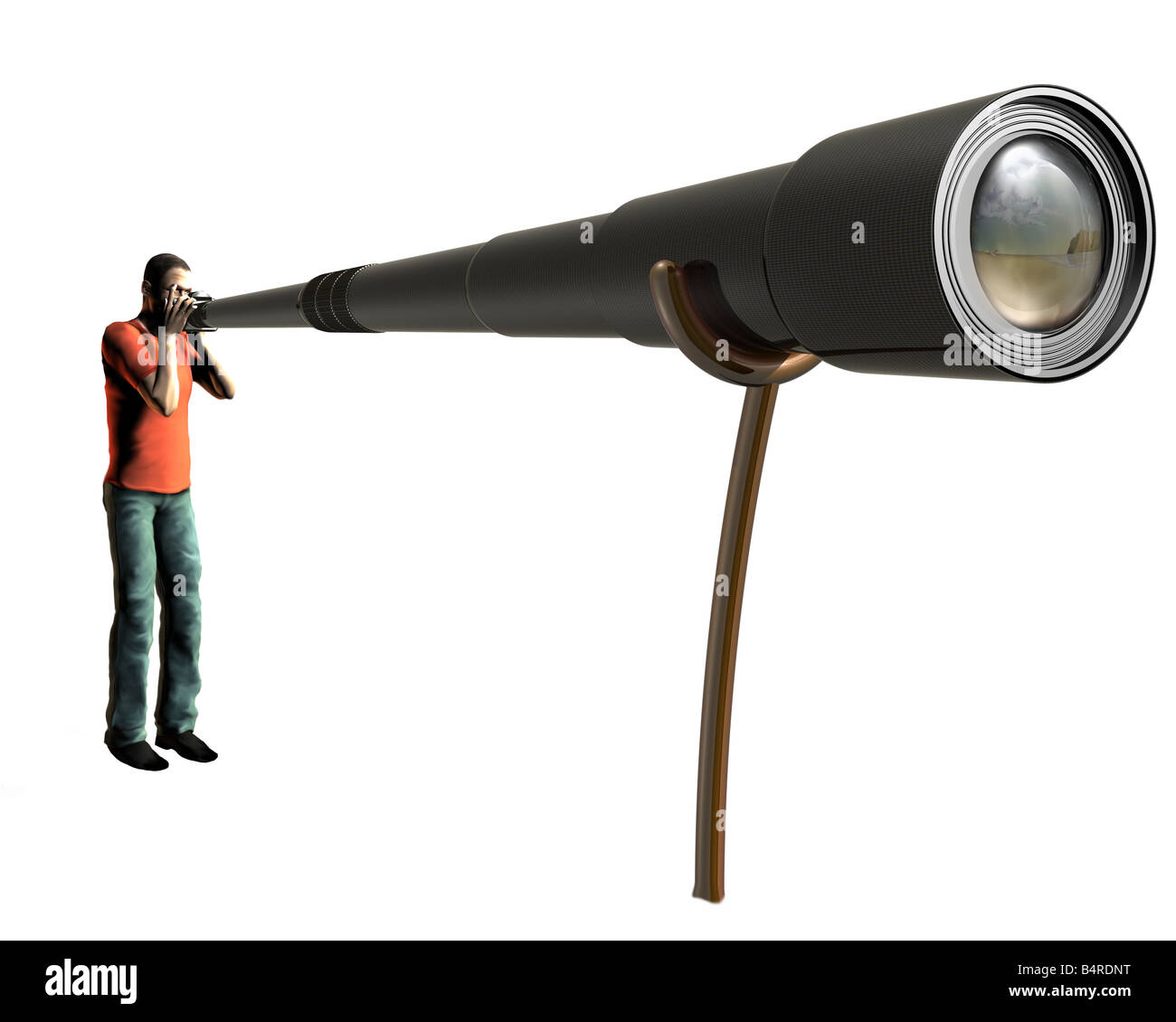 Isolated illustration of a photographer using a very long lens - Stock Image