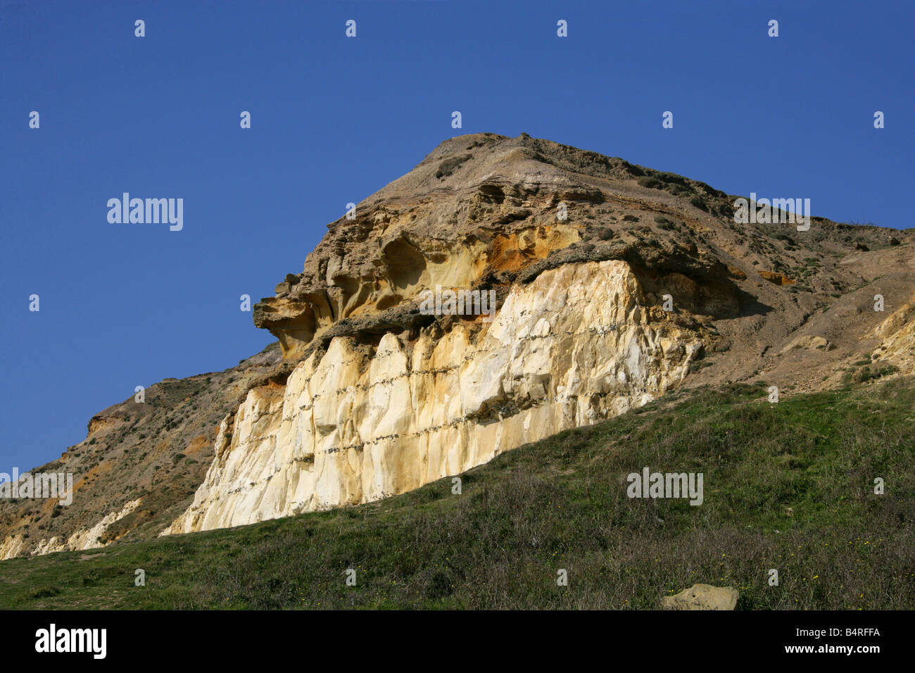 Geological Site of Interest, Castle Hill Nature Reserve, Newhaven, East Sussex, UK - Stock Image
