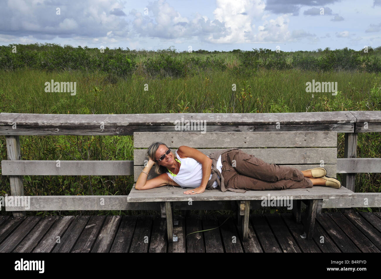 relaxing in the everglades national park florida - Stock Image