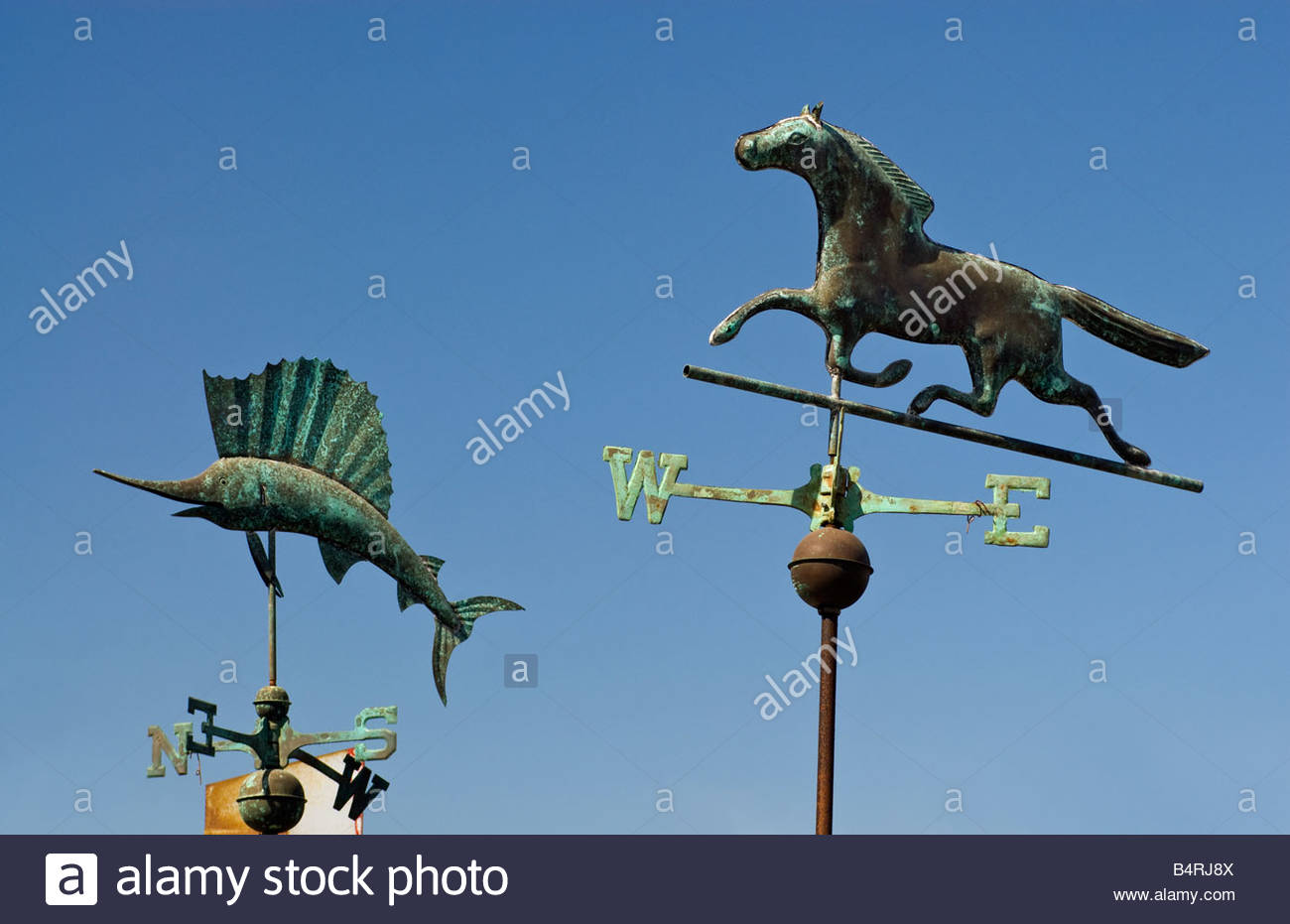 Copper weathervanes at El Centro Artesiano gift shop in Old Town San Diego California USA - Stock Image