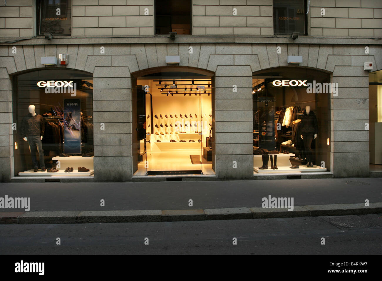 on sale 4cfbd ce152 Geox shop Montenapoleone street Milan Lombardy Italy Stock ...