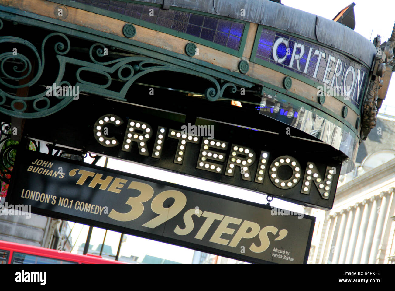 The Criterion theatre in Picadilly Circus London UK advertising John Buchan s 39 steps - Stock Image