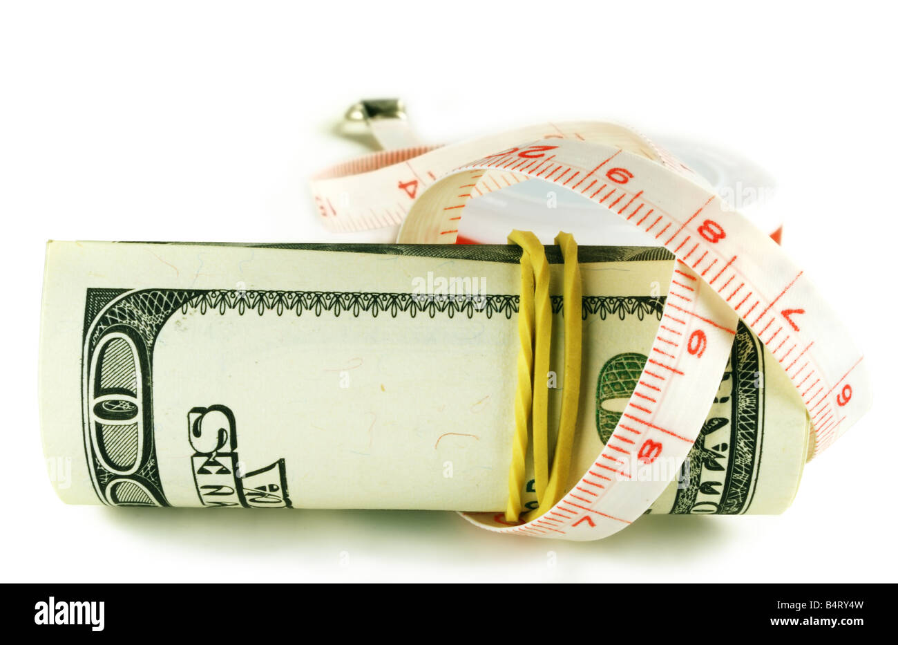 dollar grows thin one hundred dollar bill roll - Stock Image