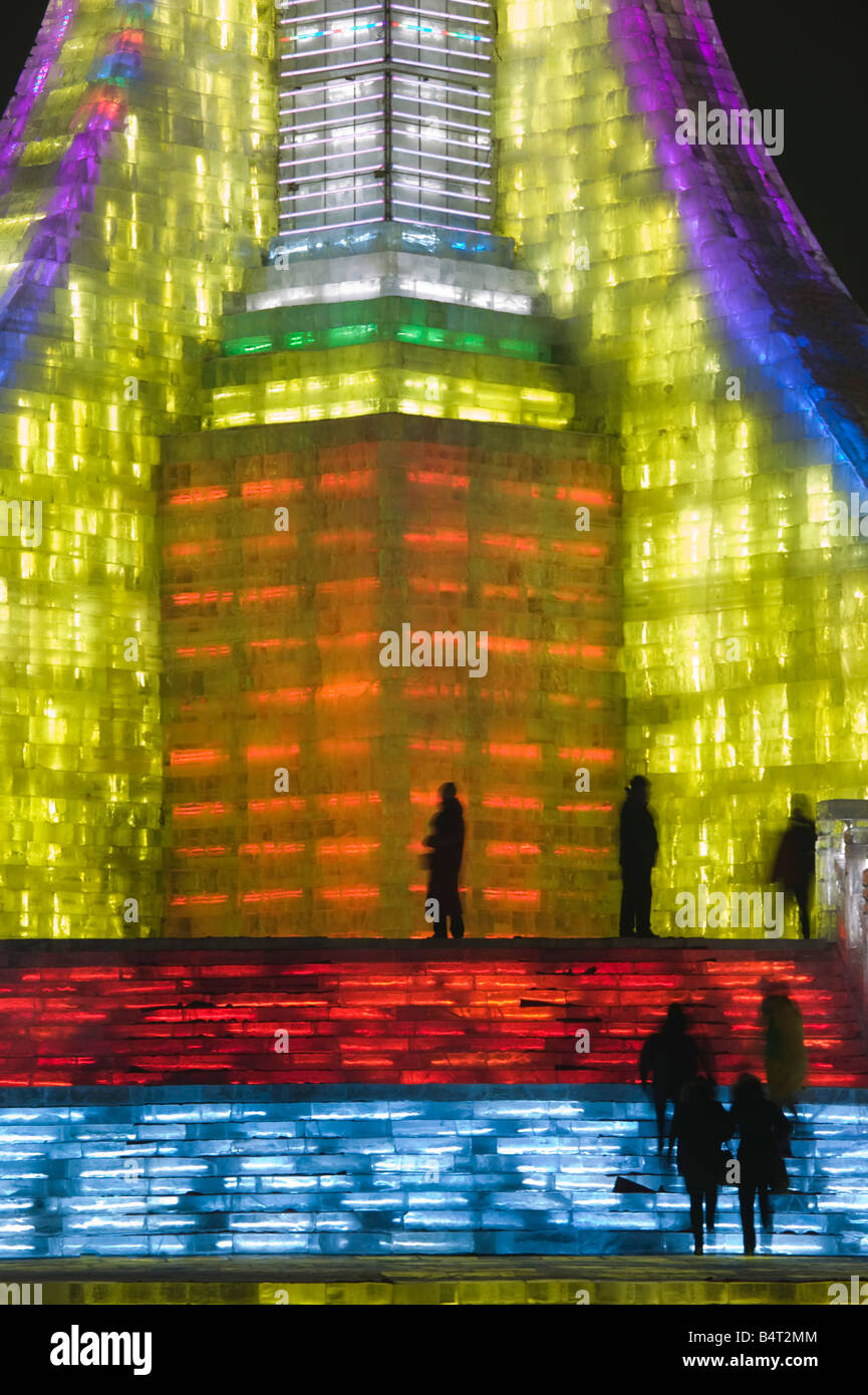 China, Heilongjiang, Harbin, Haerbin Ice and Snow World Festival, Ice Olympic Tower - Stock Image