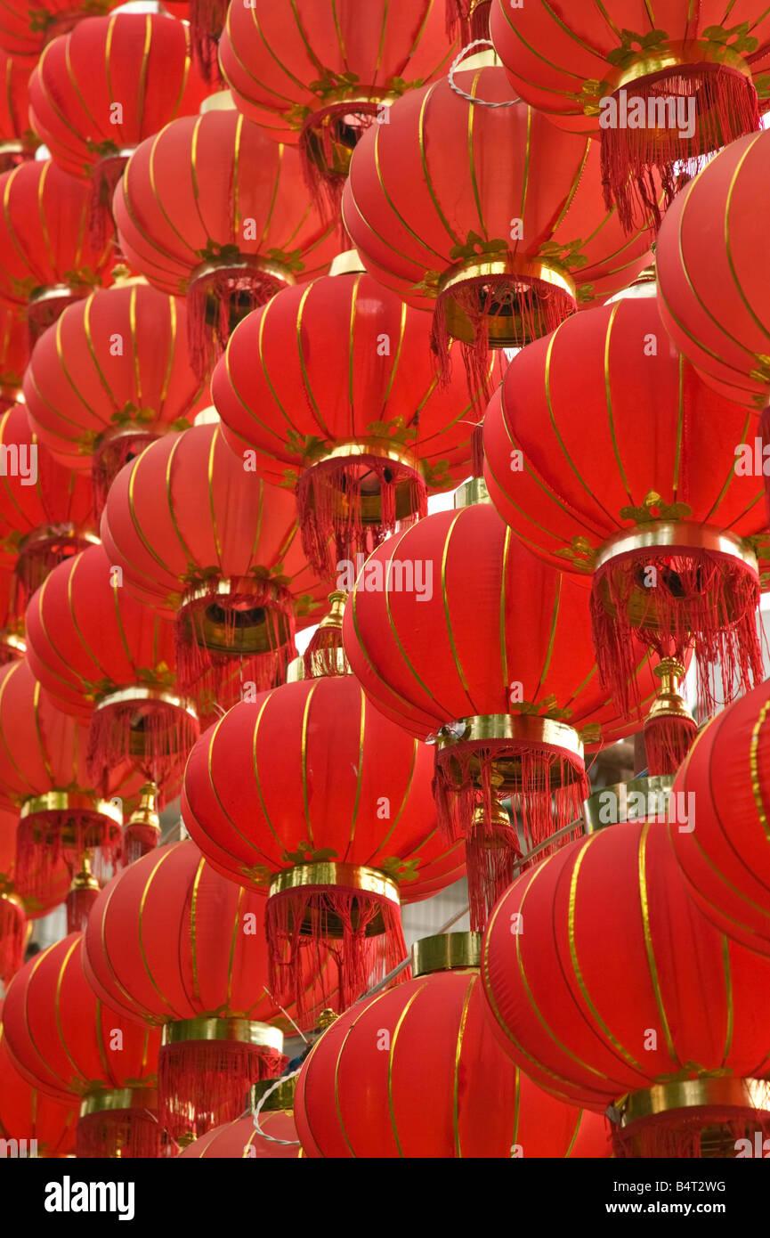 China, Yunnan Province, Dali, Old Town, Red Lanterns on Boai Lu - Stock Image