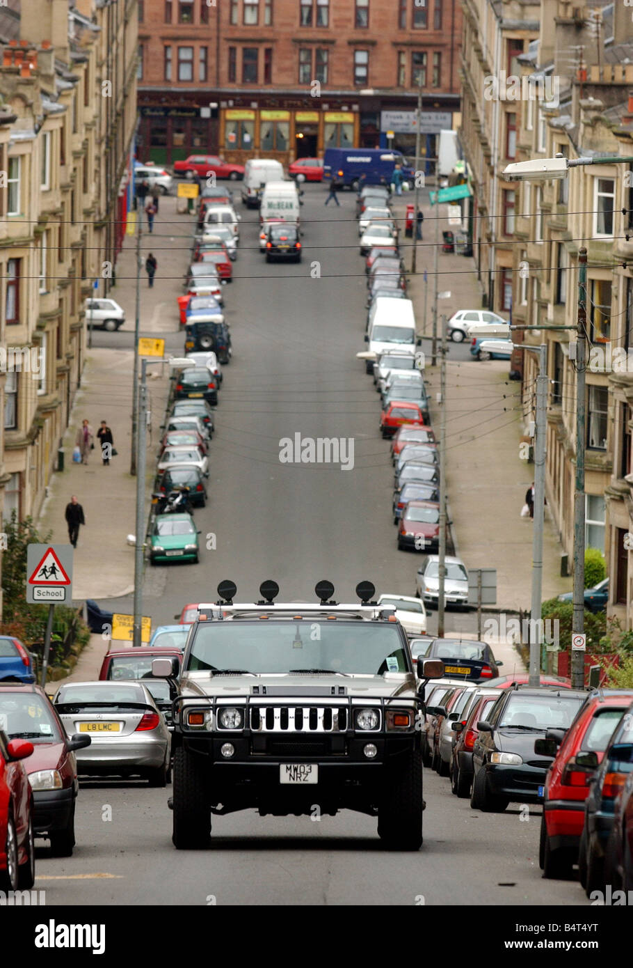 Hummer Jeep September 2003 seen here in Gardener Street Partick Glasgow - Stock Image
