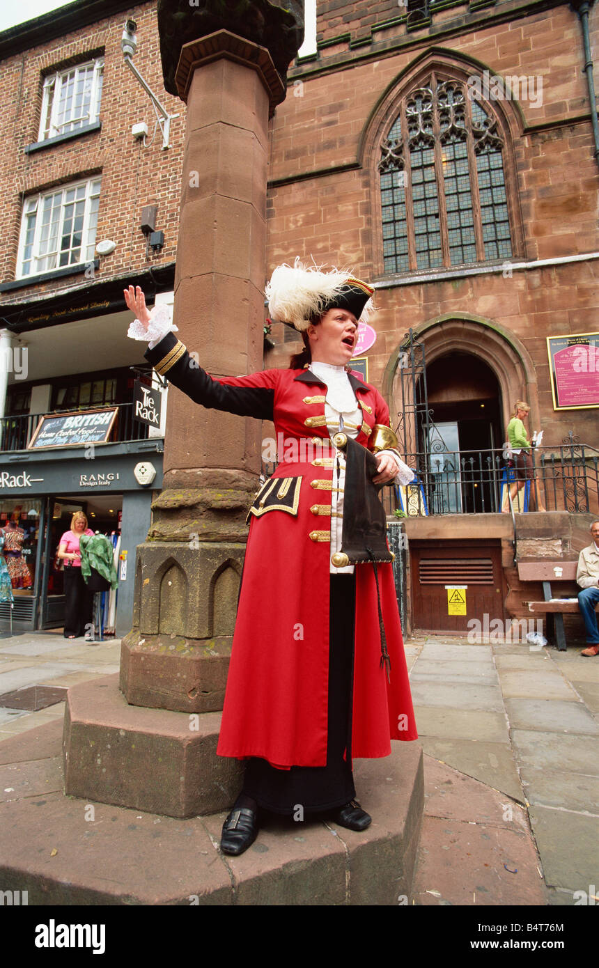 England, Cheshire, Chester, Town Crier - Stock Image