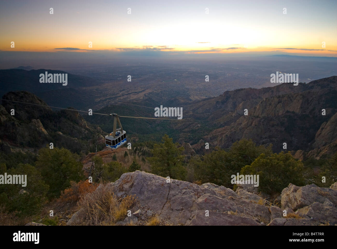 USA, New Mexico, Albuquerque from Sandia Mountains, Sandia Peak Tramway (cablecar) Stock Photo