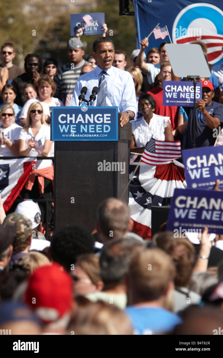 A Rally for USA Democratic Party Presidential candidate Barack Obama in Columbus Ohio - Stock Image