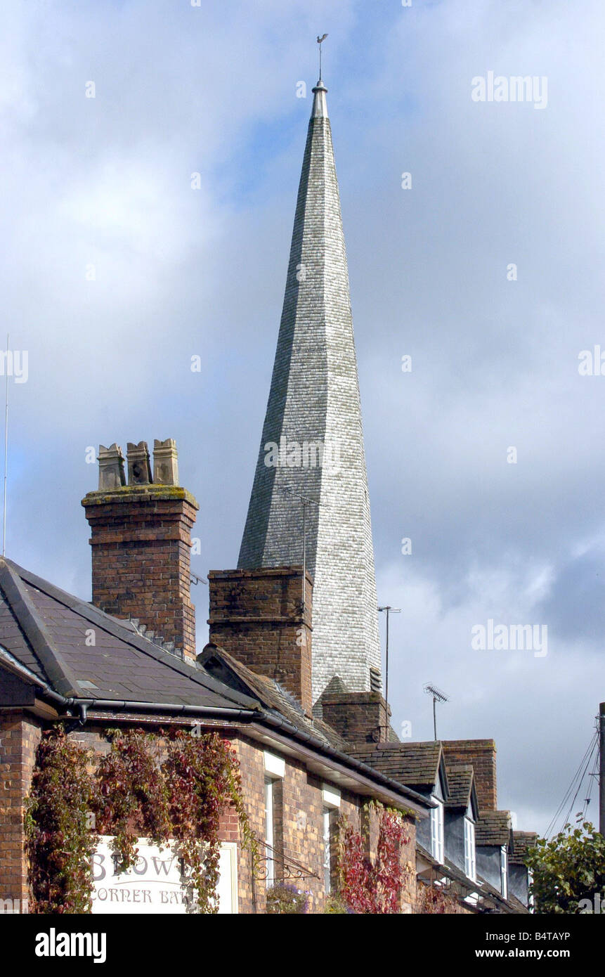 The famous twisted spire of St Mary s church Cleobury Mortimer - Stock Image