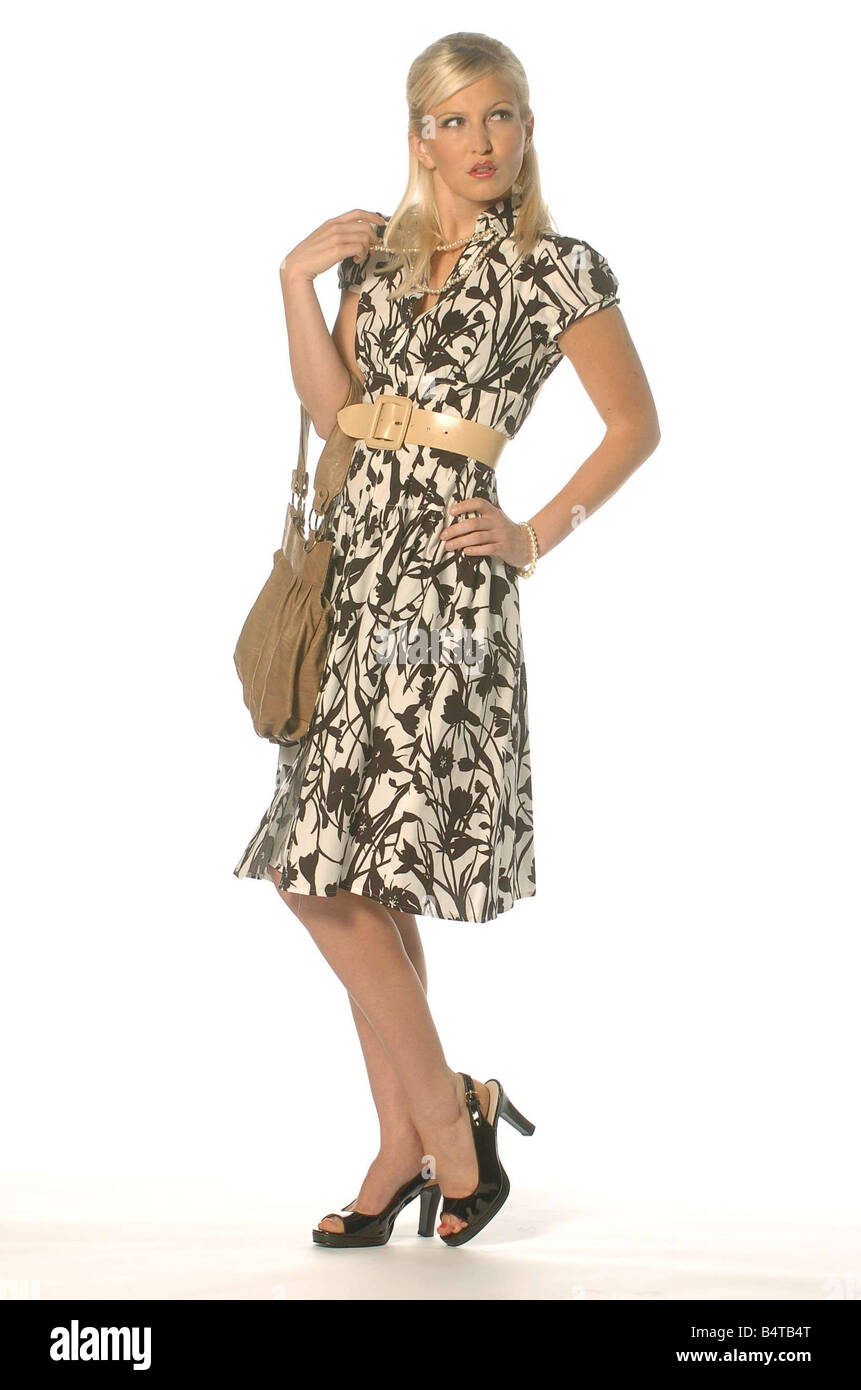 Tea Party Fashion July 2006 Shell wearing black and white print dress - Stock Image
