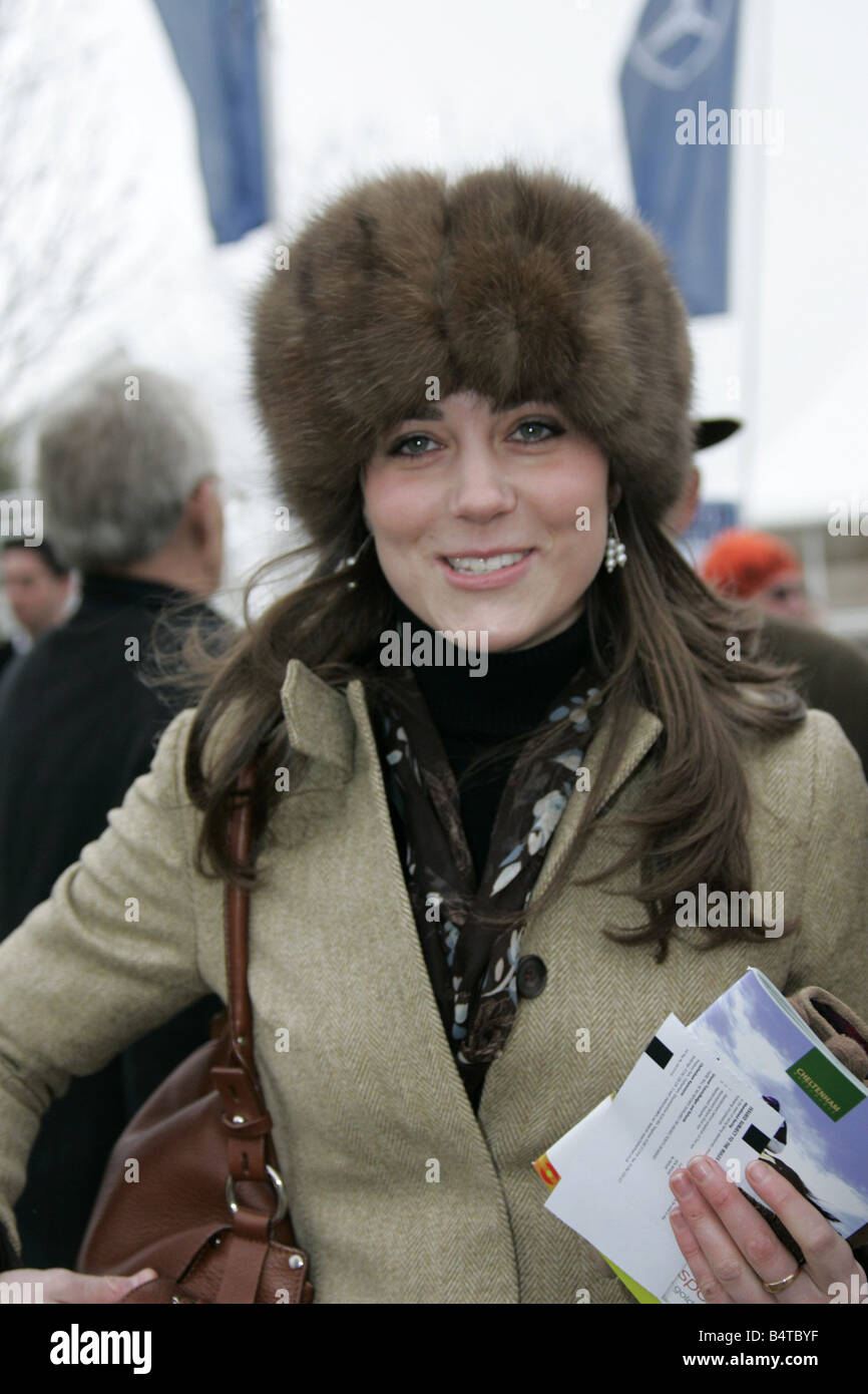 Prince William s girlfriend Kate Middleton seen here arriving at the Cheltenham Festival on Gold Cup day It has - Stock Image