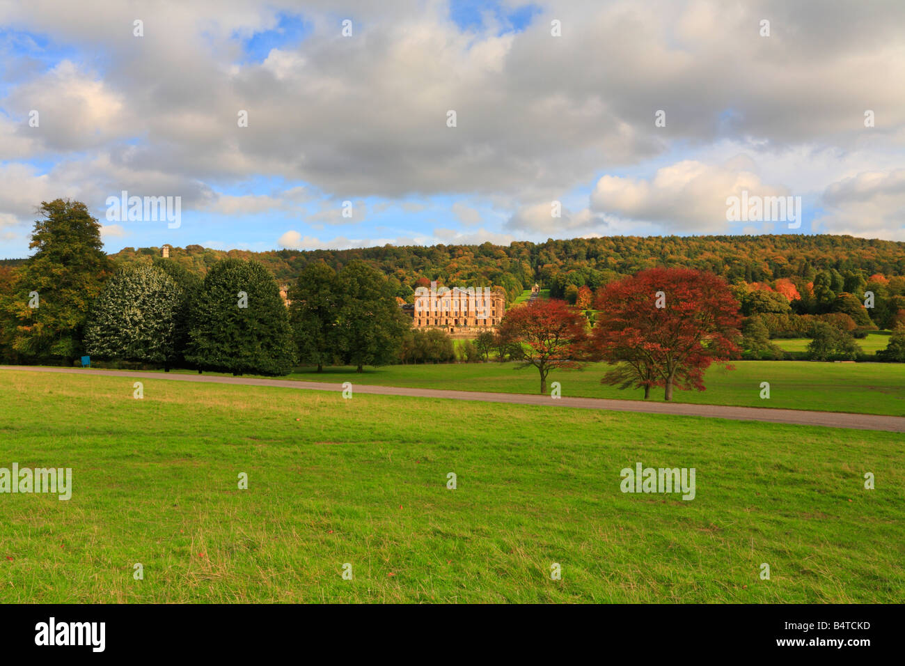 Autumn at Chatsworth Park and House Derbyshire England UK - Stock Image