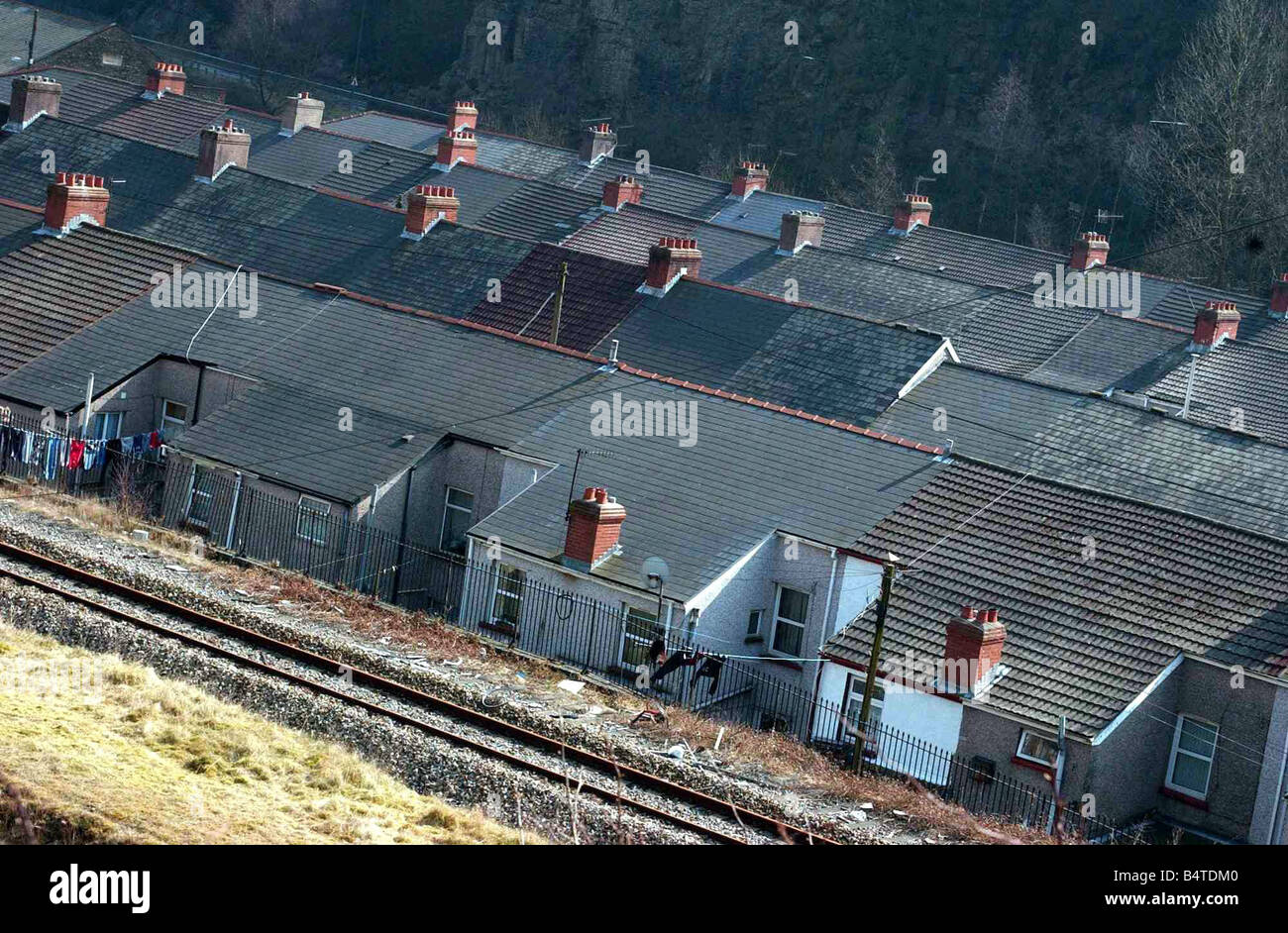 Llanhilleth village picture show rooftops near rhe railway line 24th March 2003 - Stock Image