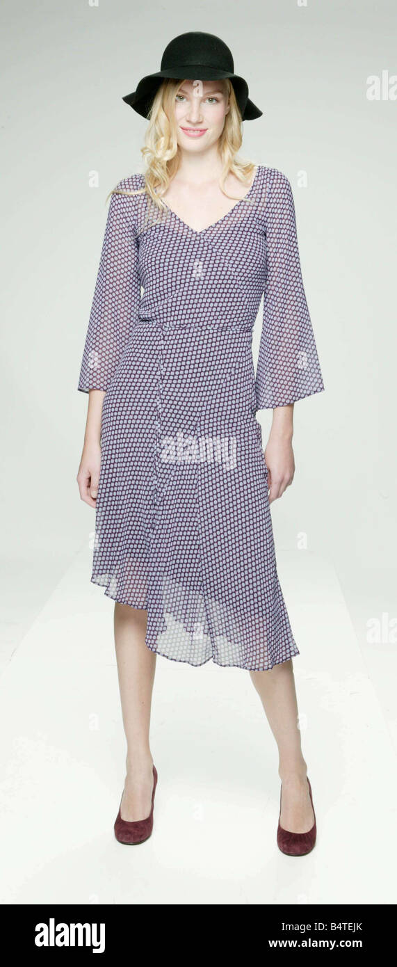 8c661e3c6f Catwalk Copies Fashion Clothing Feature September 2004 Clothes copy copied Woman  wearing floaty polka dot spotted