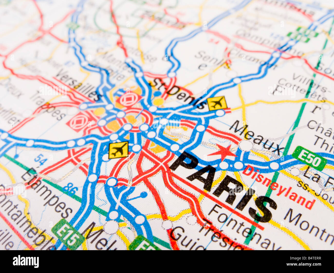 close up of a road map of paris