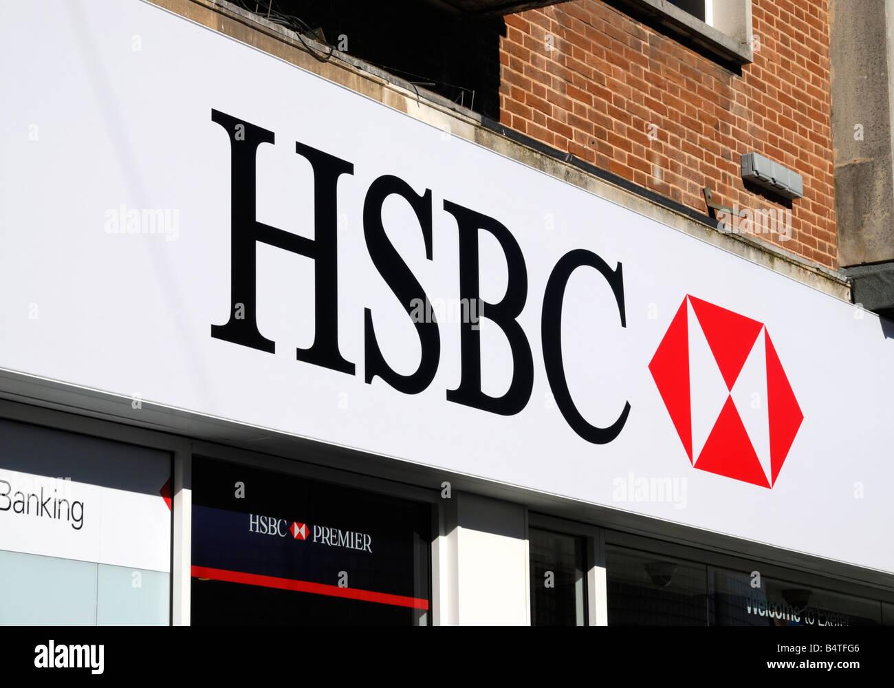 HSBC Bank sign on a bank (Exeter, UK Stock Photo: 20208054