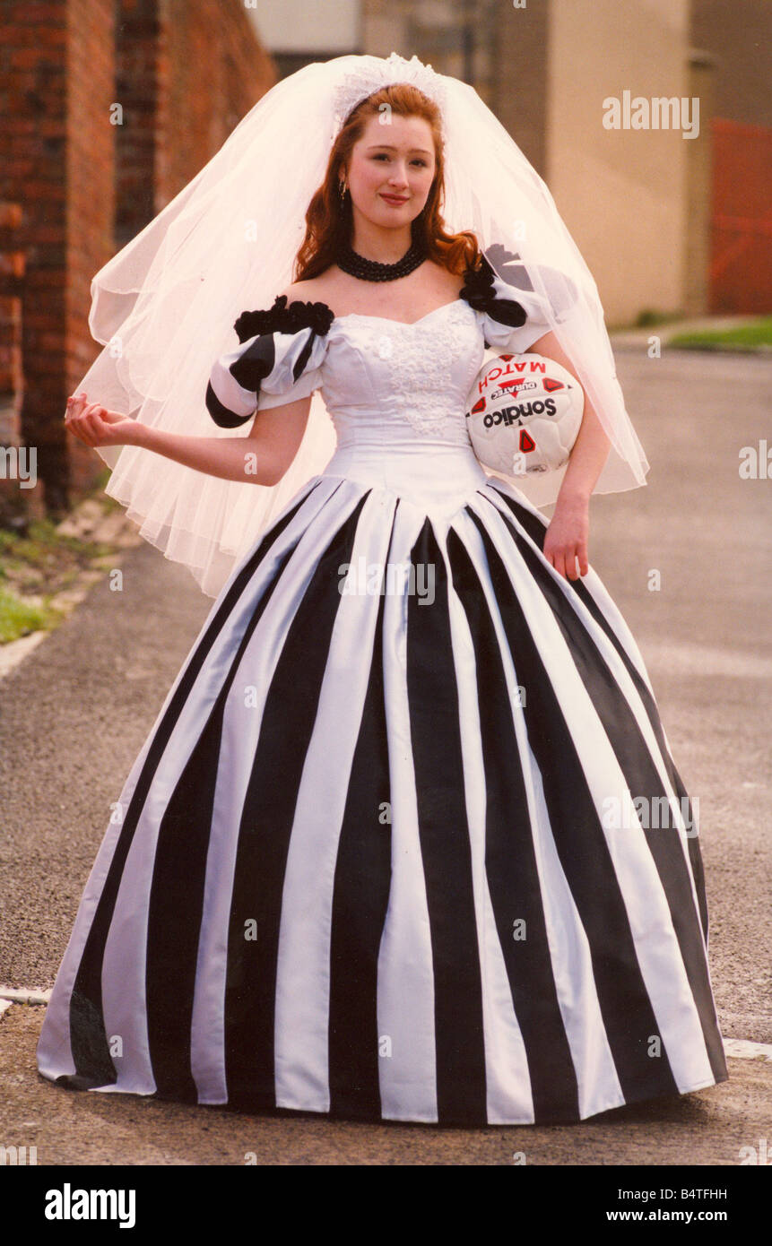 Sarah Robey models the black and white wedding dress which will be ...