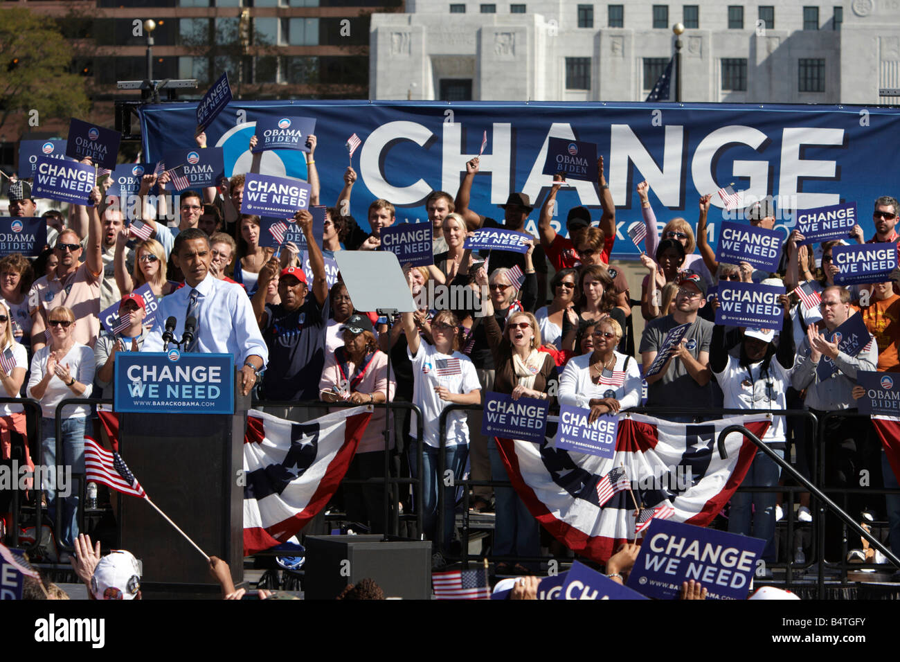 A Rally for USA Democratic Party Presidential candidate Barack Obama in Columbus Ohio Stock Photo