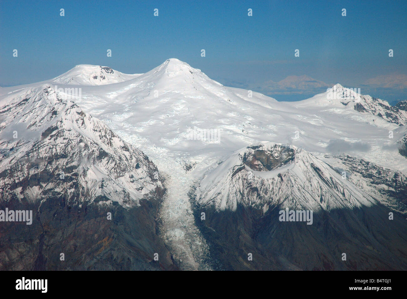 Snow-capped Mount Spurr Volcano and Crater Peak, Alaska USA - Stock Image