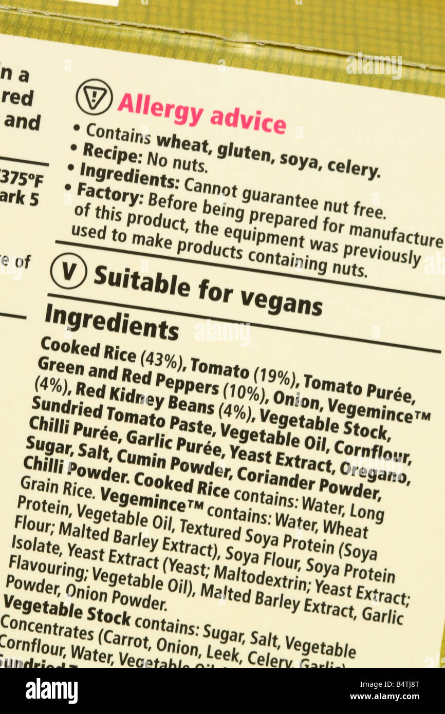 Celery Food Label