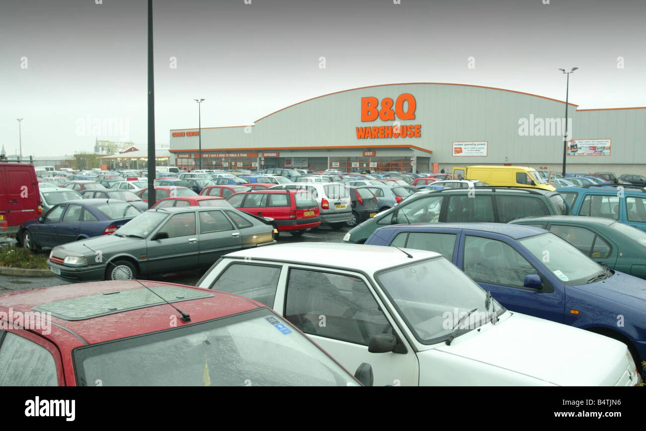 B Q Warehouse On Boucher Road On Easter Monday April 2003 Car park