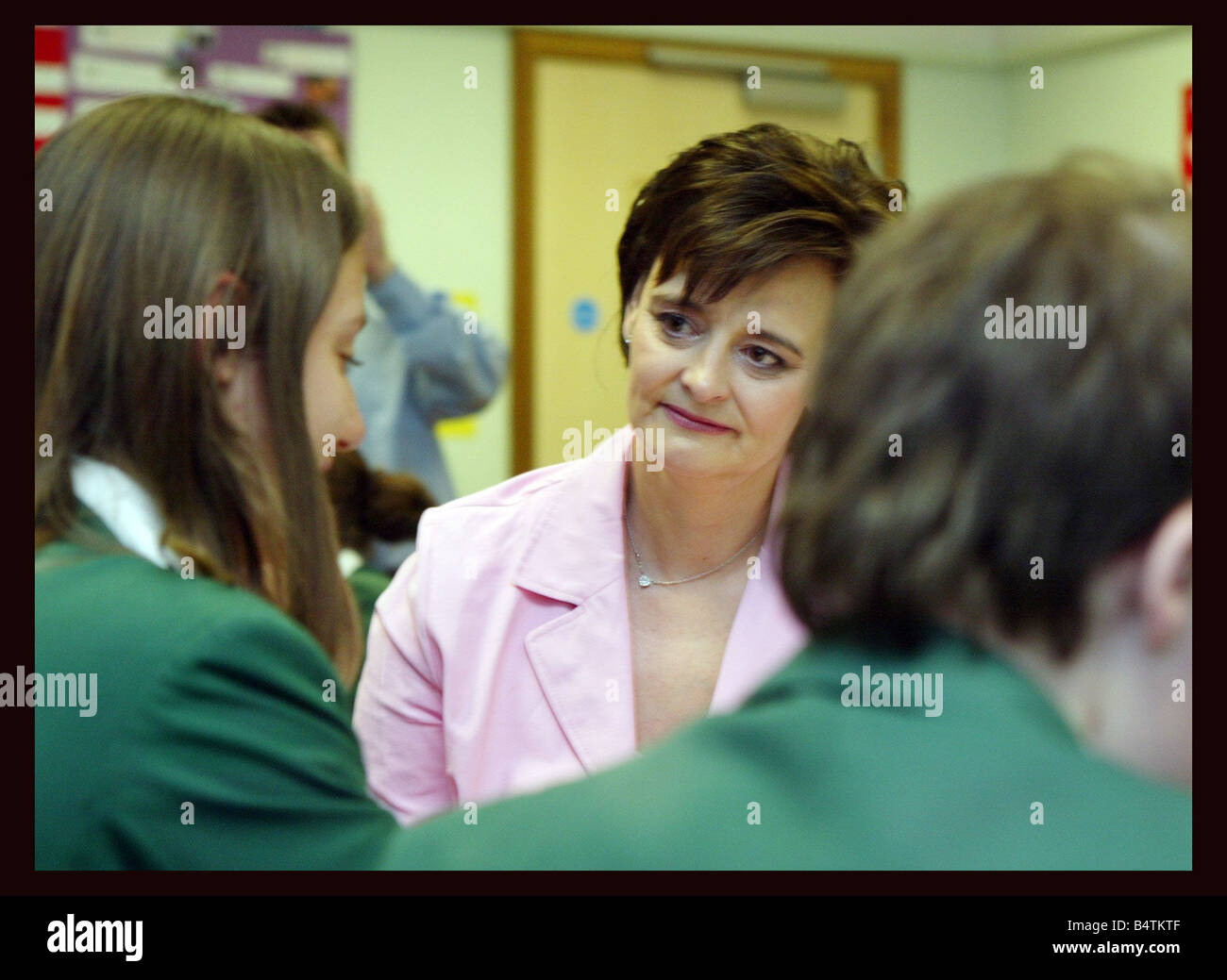 Tony Blair visits Highland school in Enfield North London April 2005 Accompanied by his wife Cherie Blair The Prime - Stock Image