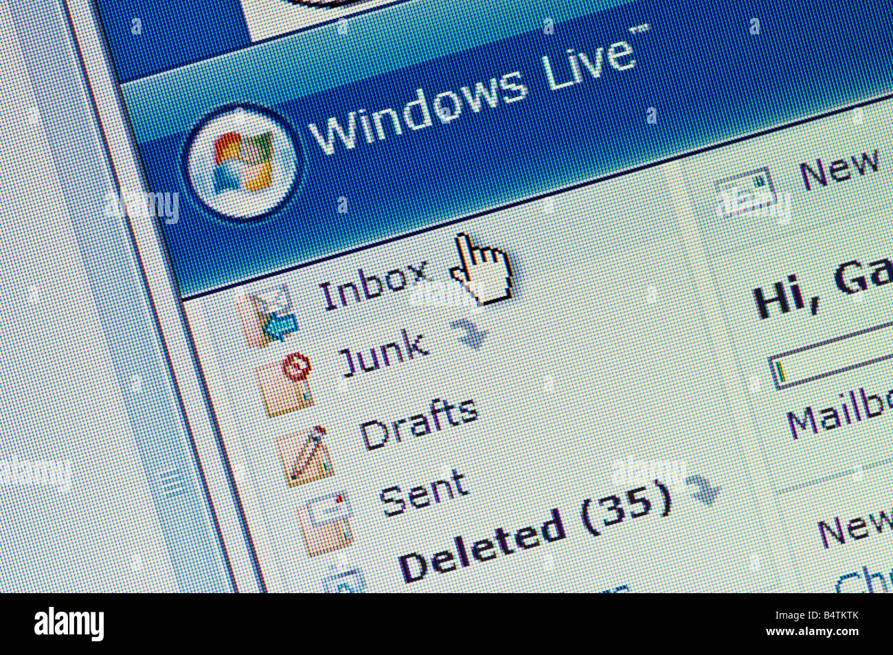 Macro screenshot of Windows Live Hotmail Editorial use only - Stock Image