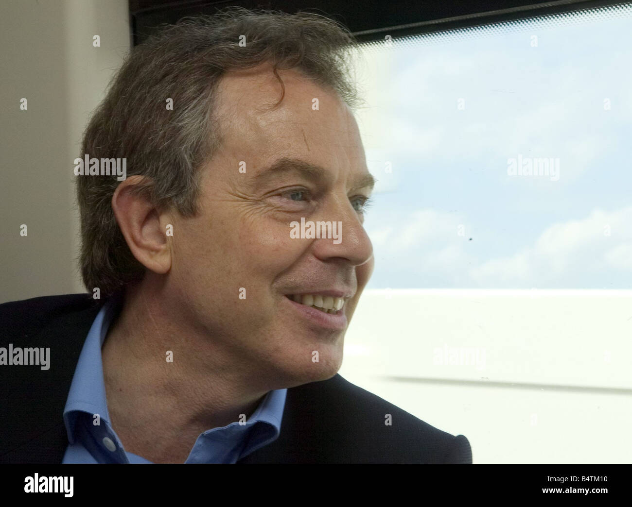 Monday 2 May 2005 3 days before the general election Prime Minister Tony Blair and Chancellor Gordon Brown talk - Stock Image