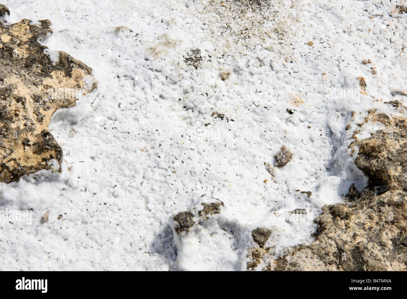 Natural sea salt, formed in the rocky crevice's of the seashore at Marsaskala in Malta. - Stock Image