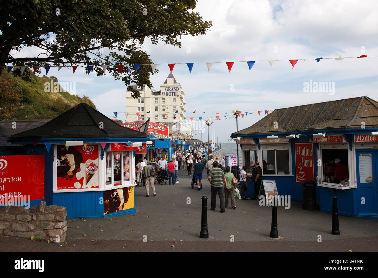 entrance to the pier built in 1878 a grade 2 listed building north shore llandudno conway clwyd north wales uk - Stock Image