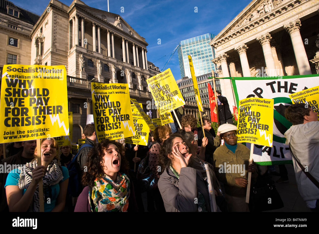 Socialist Workers Party demonstrating in the City of London against government bailing out banks Oct 2008 London - Stock Image