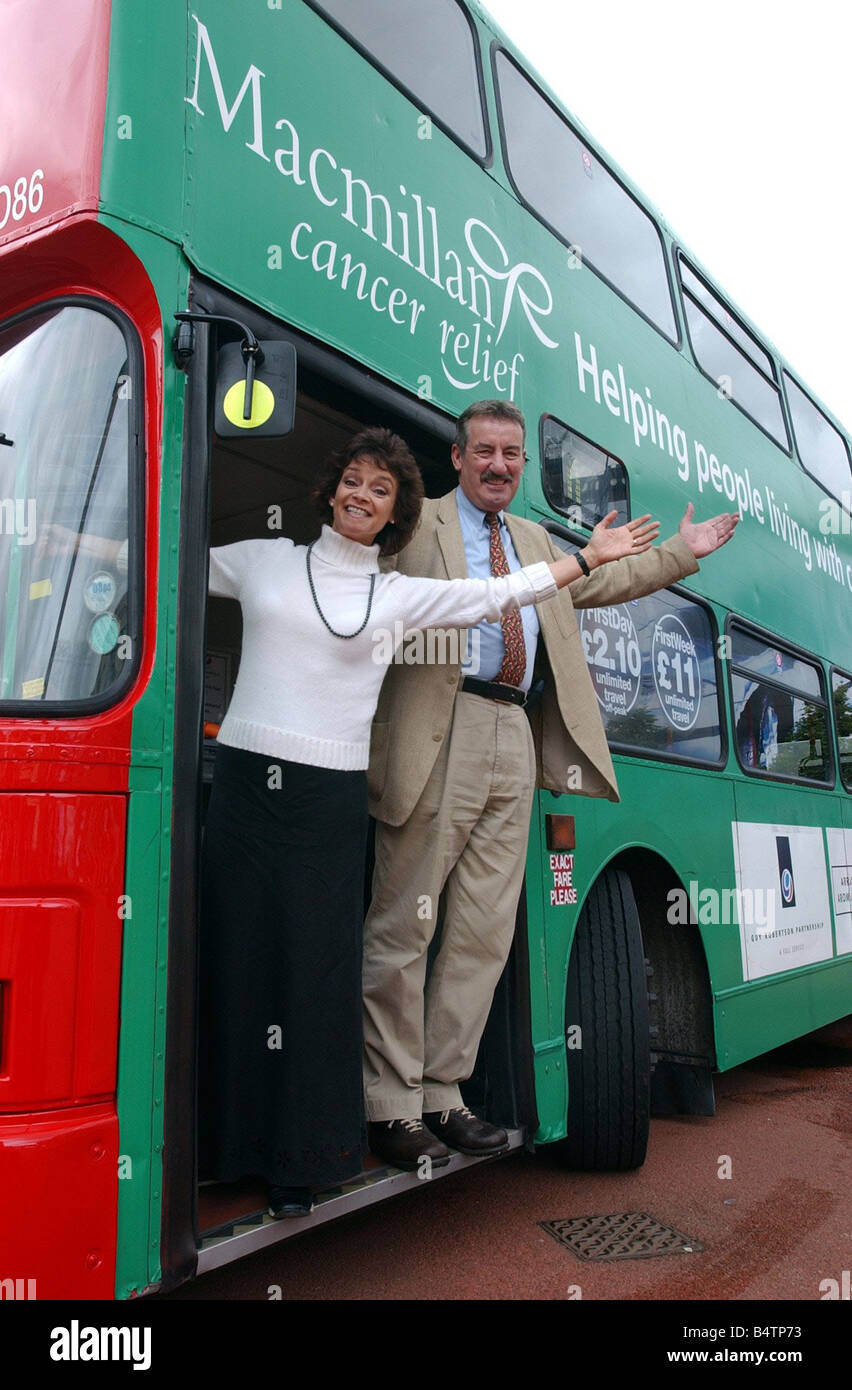 MacMillan cancer relief bus launch 2nd July 2003 Only Fools and Horses actors John Challis who plays Boycie and - Stock Image