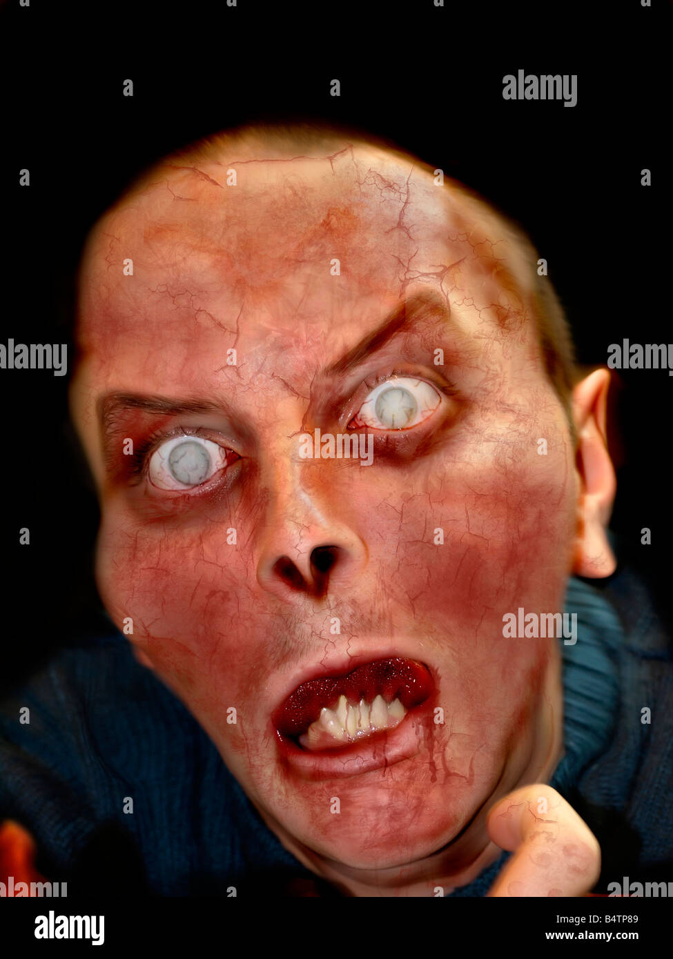 Portrait photo of a scary undead or zombie male human - Stock Image