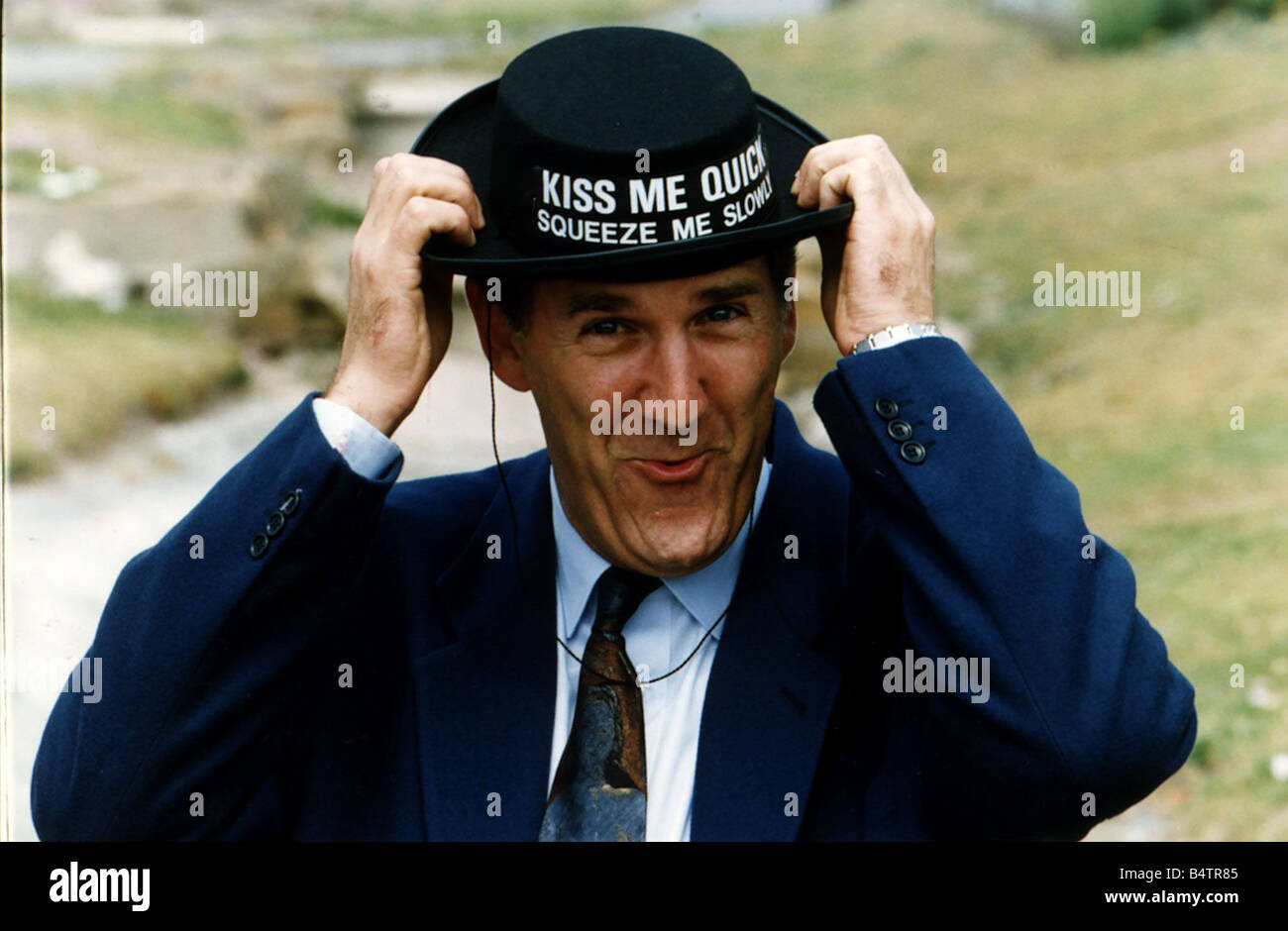 Russ Abbot with a Kiss Me Quick Hat on is at Blackpool for the summer season DBase Stock Photo
