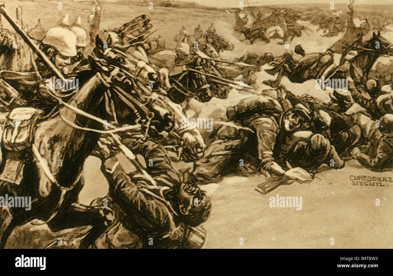 events, First World War / WWI, military postcards, 'Kavallerie-Attacke bei Soissons' (Cavalry attack near - Stock Image