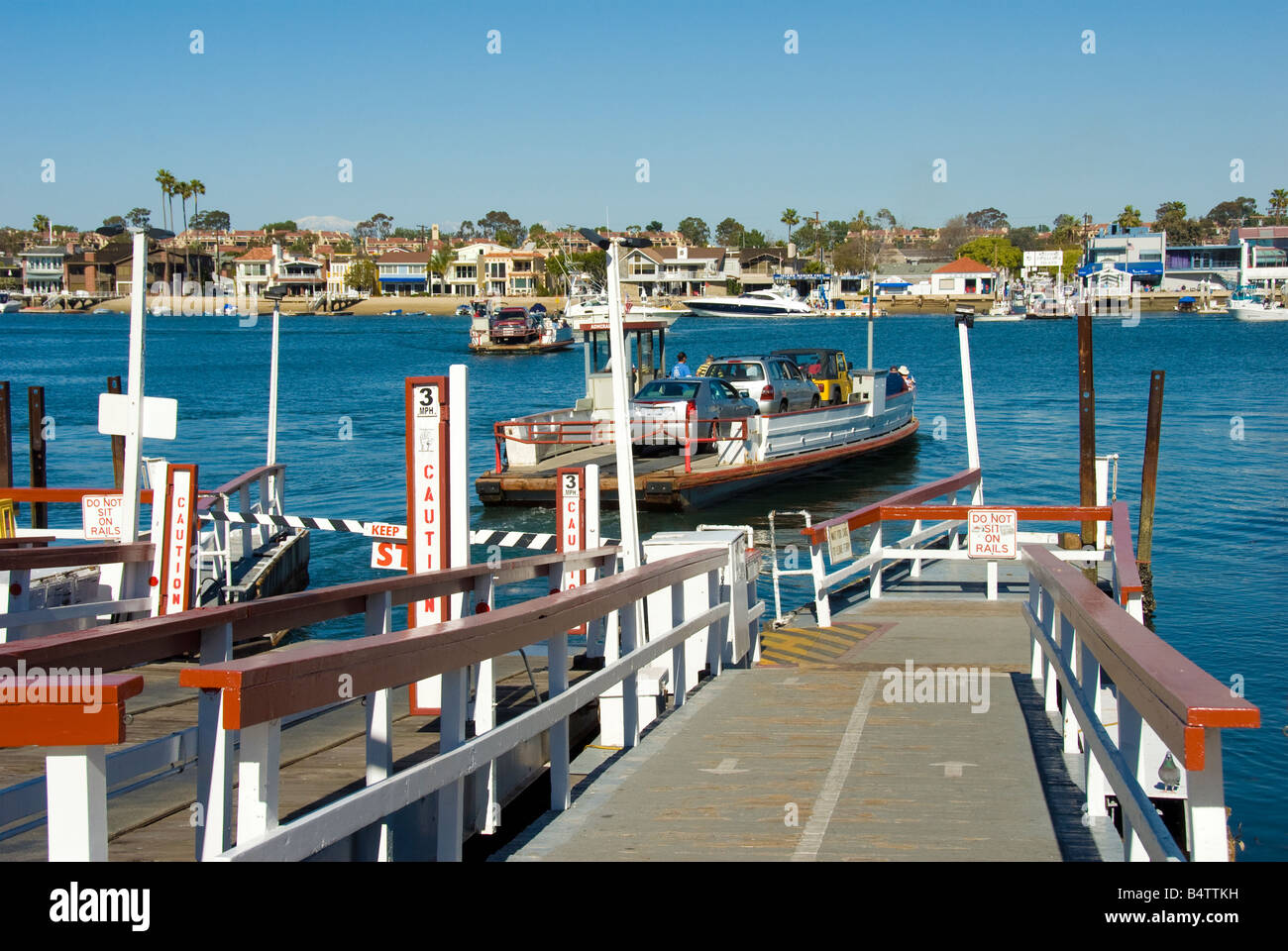 ferry ride to Balboa Island, in the middle of Newport Bay Newport Beach California usa - Stock Image