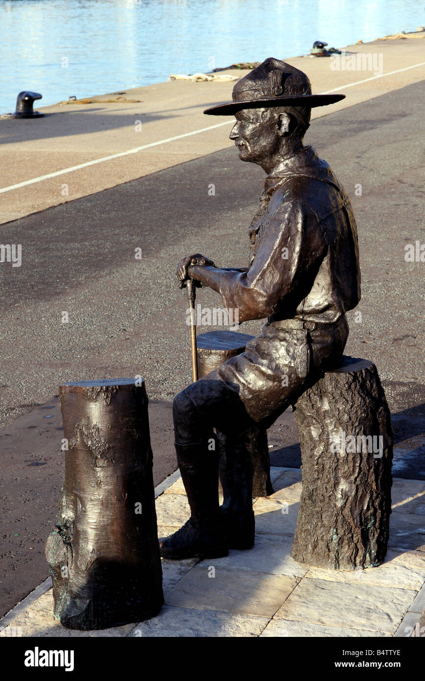 The statue of Robert Baden Powell founder of the Scouting movement in Poole harbour in England - Stock Image