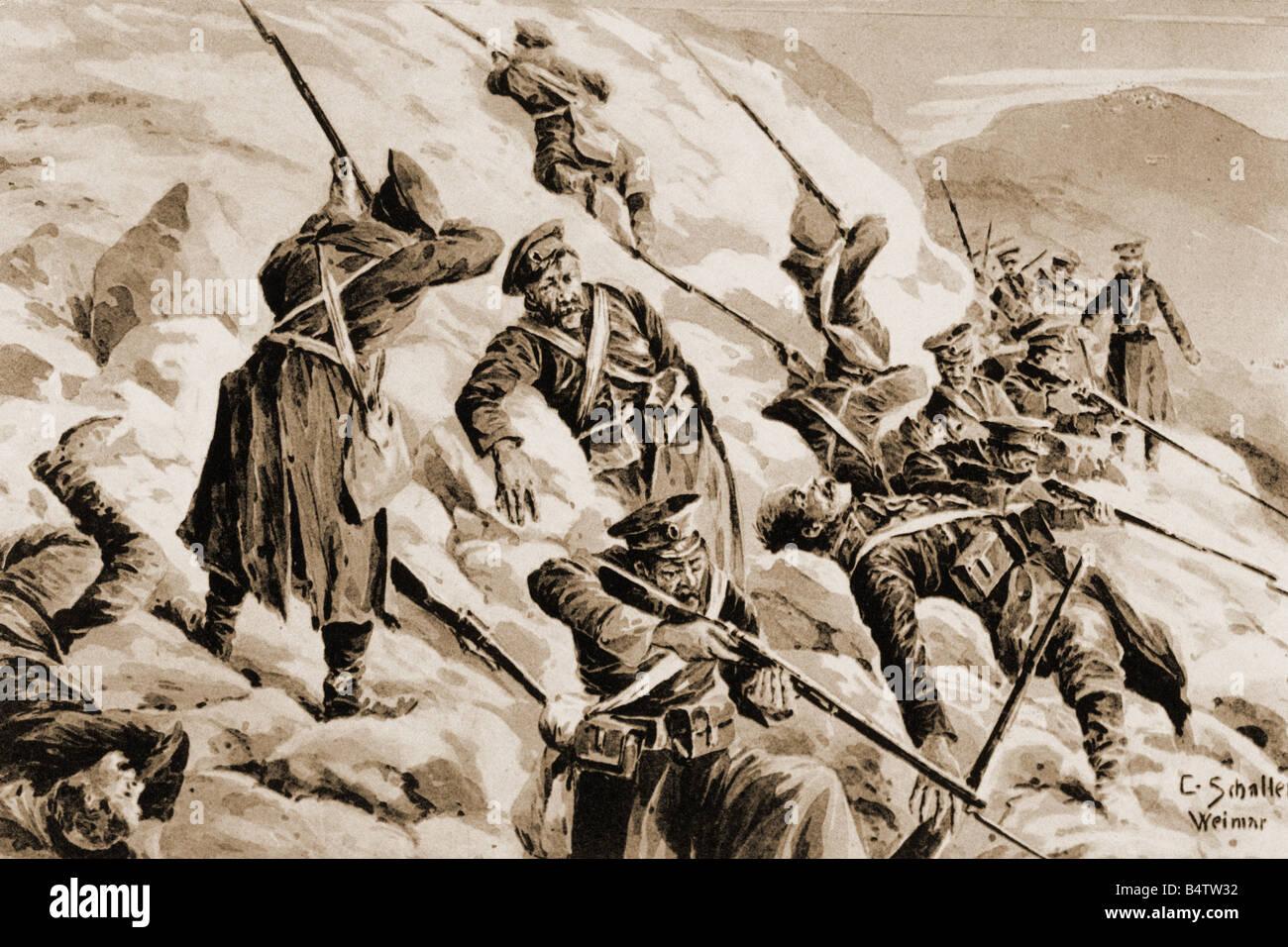 events, First World War / WWI, Eastern Front, 'Eingeschlossene russische Abteilung in den Karpathen' (Encircled - Stock Image