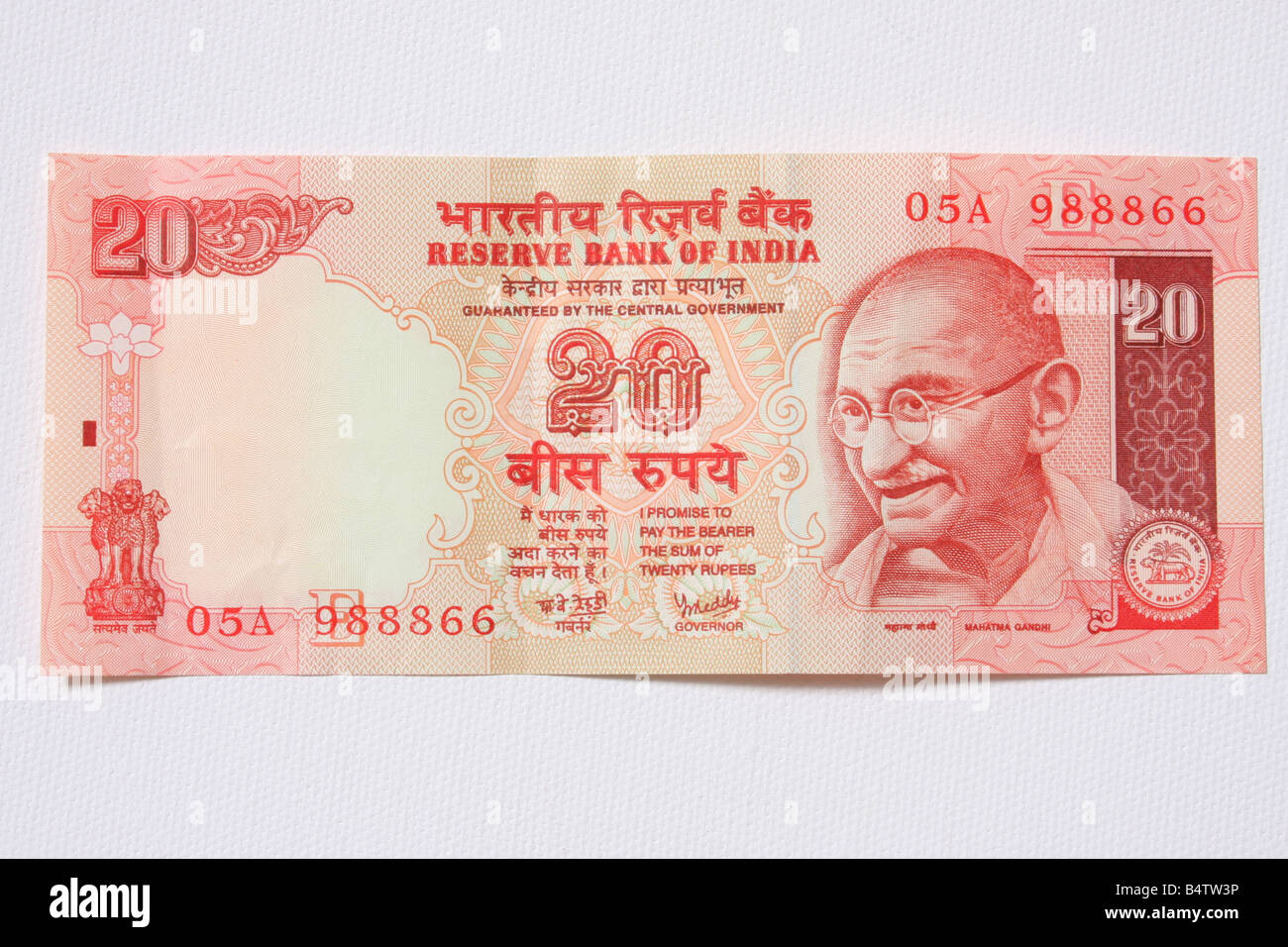 An Indian bank note featuring Mahatma Gandhi of 20 Rupees Stock Photo