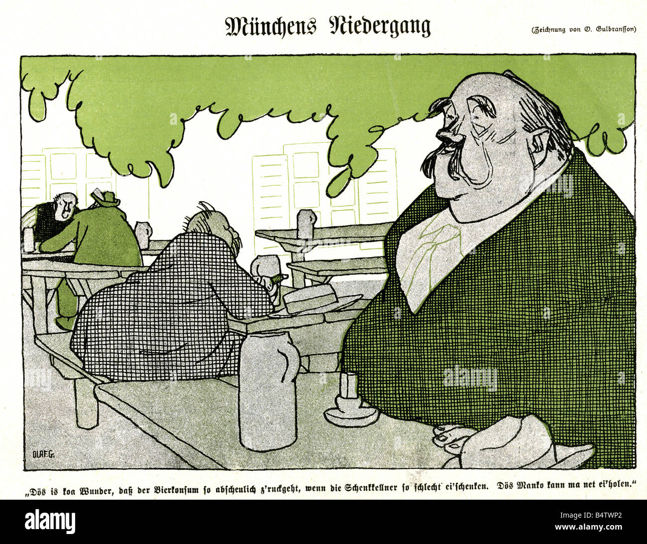 alcohol, beer, caricature against badly poured mugs, 'The decline of Munich', drawing by Olaf Gulbransson, - Stock Image