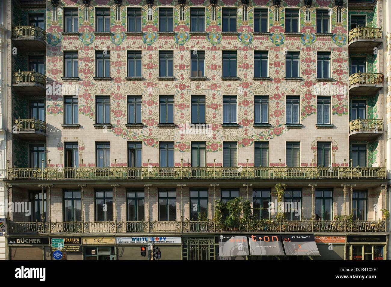 Vienna Art Nouveau House Majolikahaus by Architect Otto Wagner Linke  Wienzeile 40