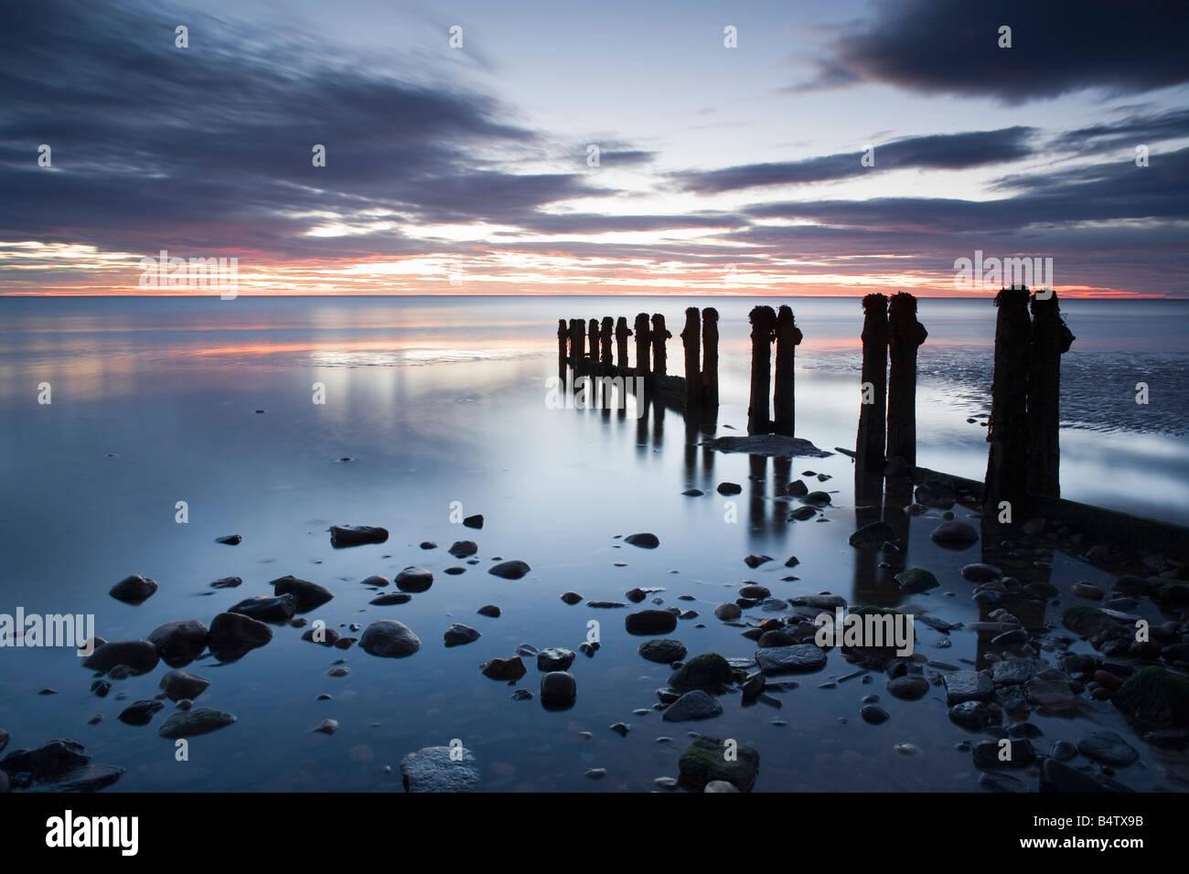 UK North Yorkshire Seascape long exposure - Stock Image