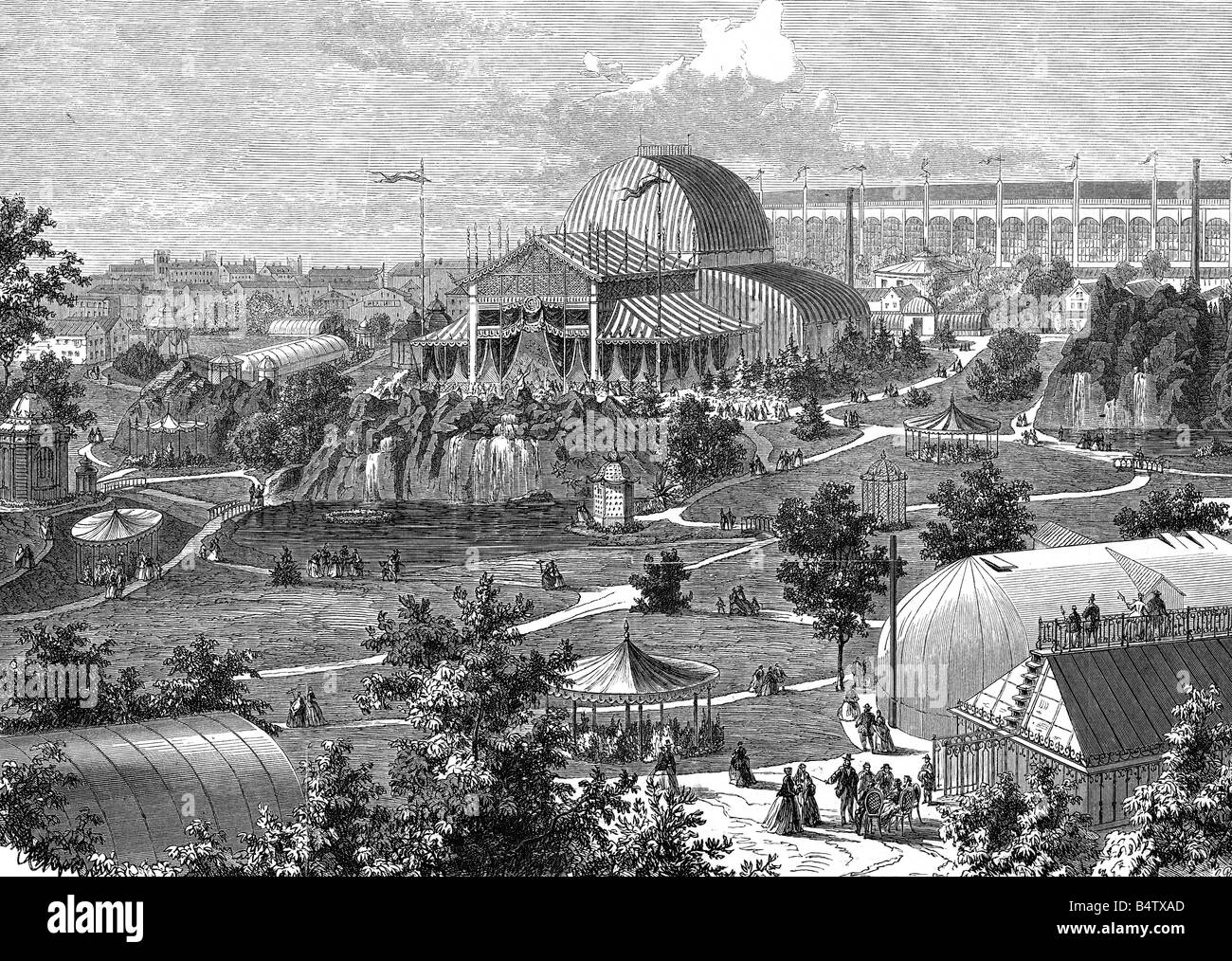 exhibitions, world exposition, Paris, 1.4.1867 - 31.12.1867, site at Champ de Mars, wood engraving, Germany, 1867, - Stock Image